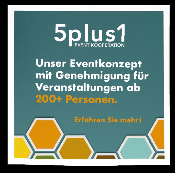 5plus1-Sticker-Covid/Corona-Eventkonzept inkl. Genehmigung für 500 Personen SINNESFREUNDE